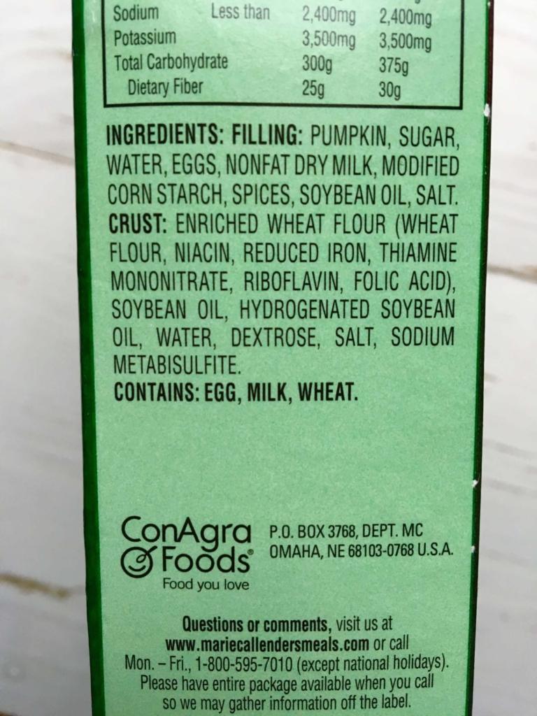 ingredients of Marie Callender's Pumpkin Pie