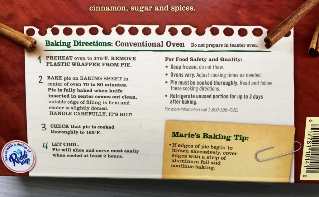 Directions on the box of Marie Callender's Pumpkin Pie