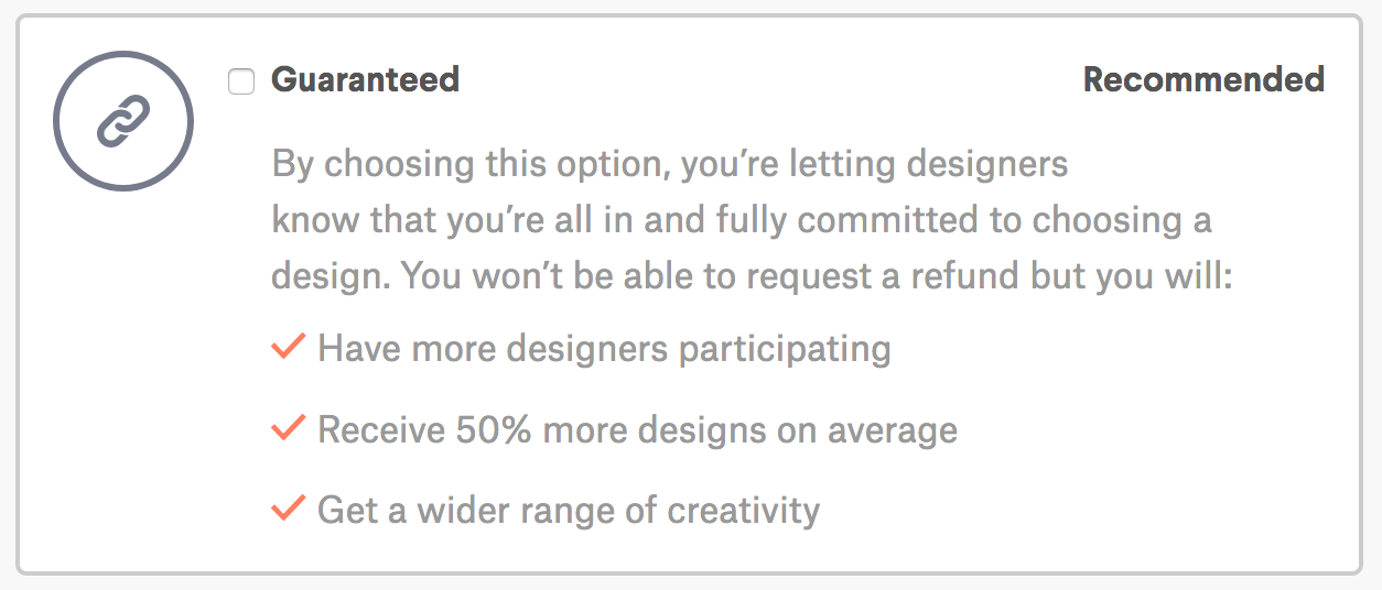 99 Designs Guaranteed Option
