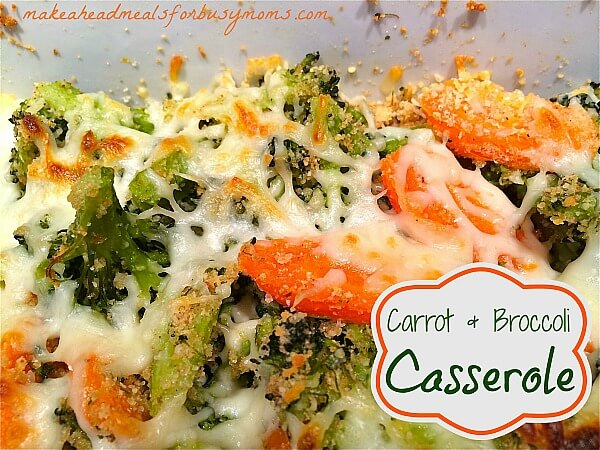 cooked broccoli and carrots topped with bread crumbs and melted cheese