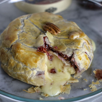 Baked Brie with Raspberry Preserves and Chopped Pecans