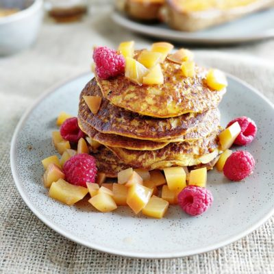 Butternut Squash Pancakes with Chai Poached Nectarines