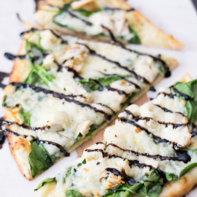 Chicken and Spinach Naan Bread Pizza