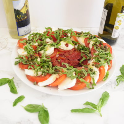 Roasted Pepper and Caper Caprese Salad