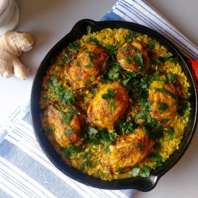 One Skillet Ginger and Turmeric Chicken Thighs with Rice