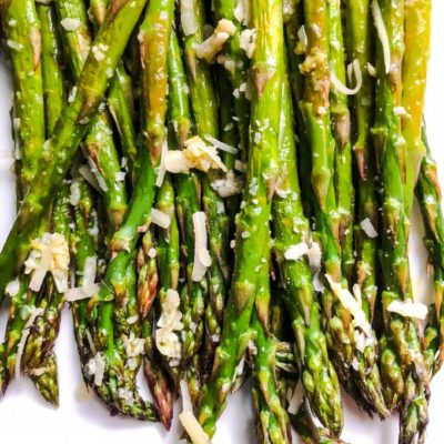 Lemon and Garlic Roasted Asparagus with Parmesan