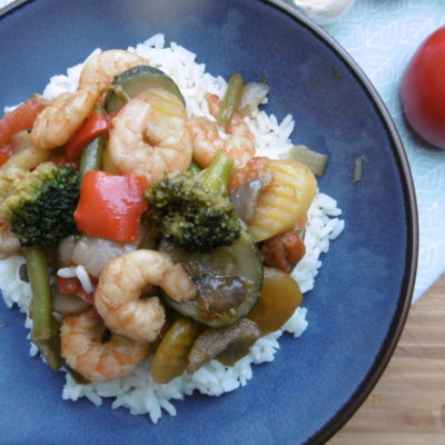 Stir-Fry Shrimps and Veggies with Rice