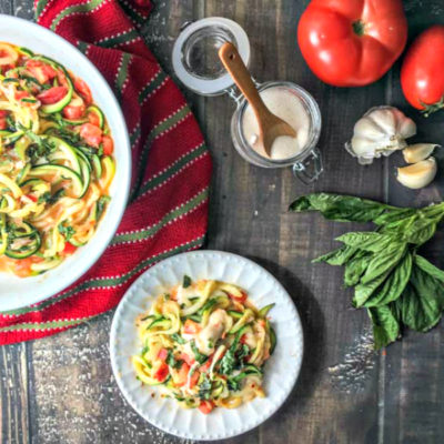 Zucchini Noodles Margherita – a fast low carb lunch!
