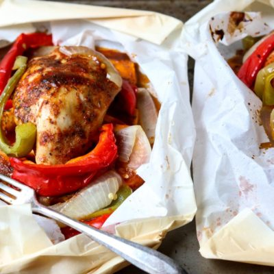 Barbecue Chicken in Parchment with Sweet Potatoes and Peppers