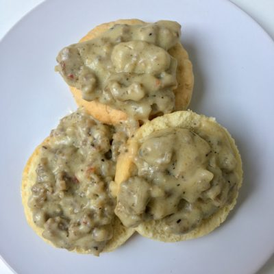 Biscuits and Sausage Gravy (Dairy-Free & Egg-Free)