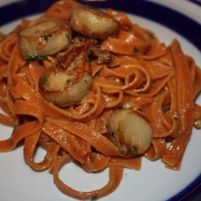 Vegan Scallops with Sundried Tomato Fettuccine
