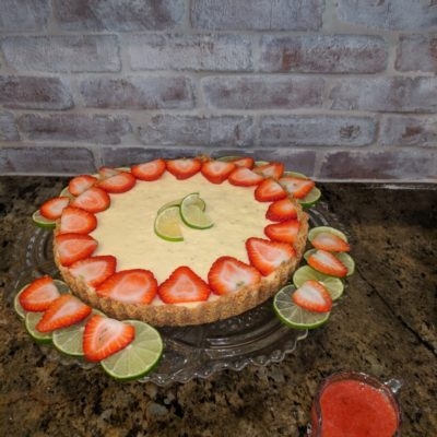 Vegan Key Lime Cheesecake Tart with Strawberry Sauce