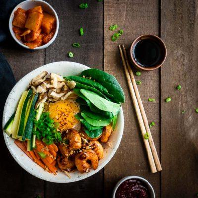 Spicy Shrimp Bibimbap Bowl