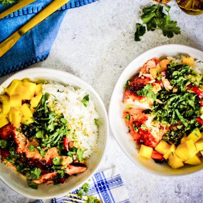 Thai Green Curry Salmon and Veggie Bowls