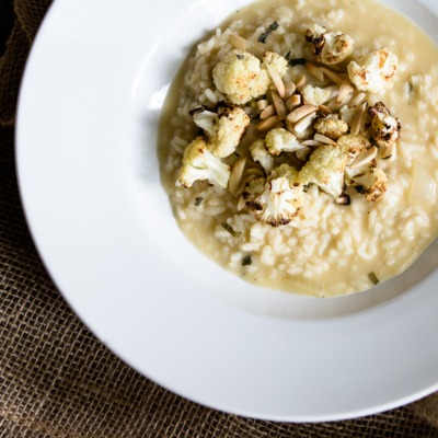 Roasted Cauliflower Risotto with Sage and Almonds