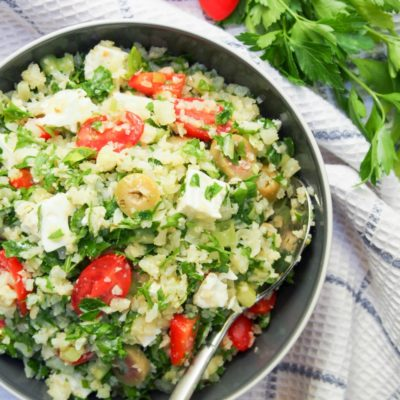 Greek Style Cauliflower Rice Salad