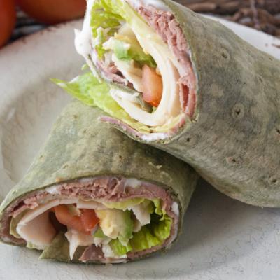 Roast Beef Turkey Avocado Wraps