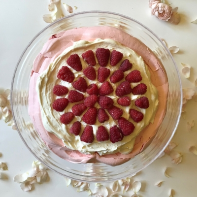 Rose and Raspberry Pavlova