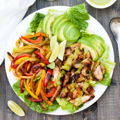 Chicken Fajita Salad with Avocado Lime Dressing