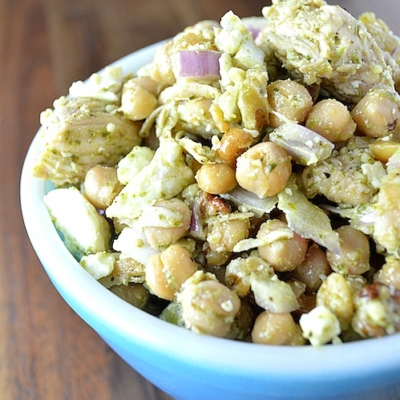 Chicken Chickpea Pesto Salad