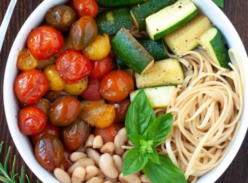 Balsamic Cherry Tomato Pasta with Zucchini and Cannellini Beans in a bowl