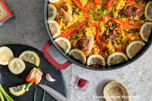 Chicken Paella in a pan