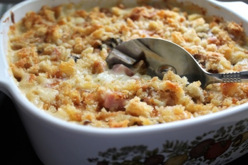Down-Home Creamy Ham Casserole in a serving dish