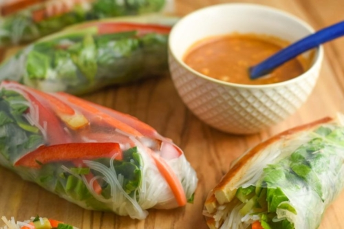 Fresh Vegan Spring Rolls and a bowl of soup