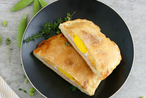 Ham Egg and Cheese Calzones on a plate