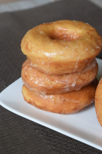 stack of copycat Krispy Kreme Donuts on a plate