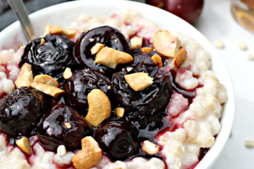 a bowl of Maple Roasted Cherry Breakfast Barley
