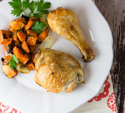Maple Roasted Chicken with Sweet Potatoes on a plate