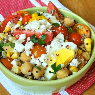 Tri-Color Quinoa Bowl with Roasted Corn and Garden Tomatoes