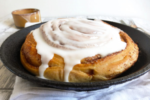Giant Cinnamon Bun with icing on top