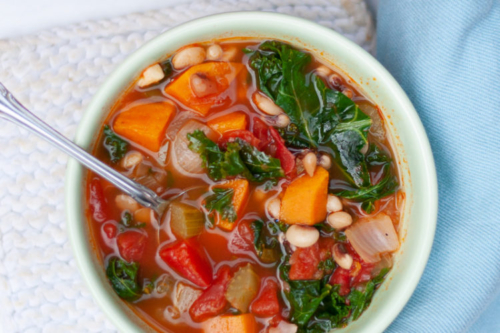 Vegan Black-Eyed Pea Soup in a bowl