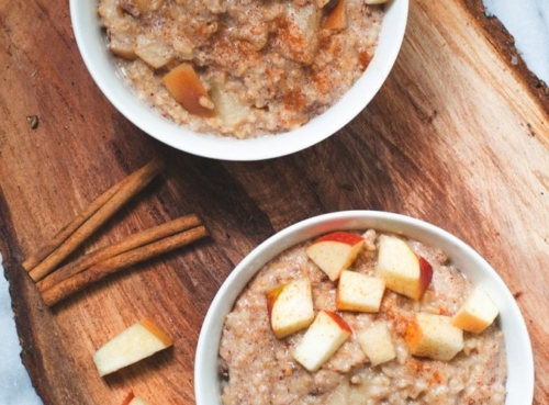 2 bowls of Apple Cinnamon Steel Cut Oats with diced apples