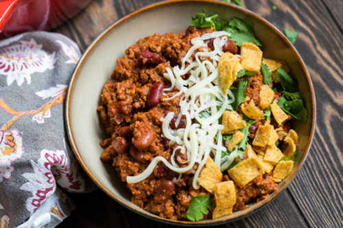 Blue Ribbon Beef Chili in a bowl