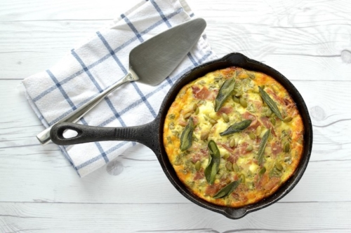 Butternut Squash Frittata on a white board surface