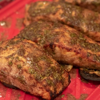 Cilantro-Creole Mustard Marinaded Salmon