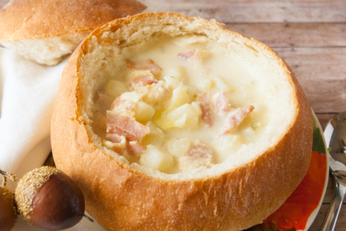 soup in a French Bread Bowl