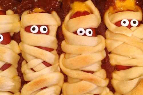 Hot Dog Mummies (hot dogs wrapped in crescent roll strips)