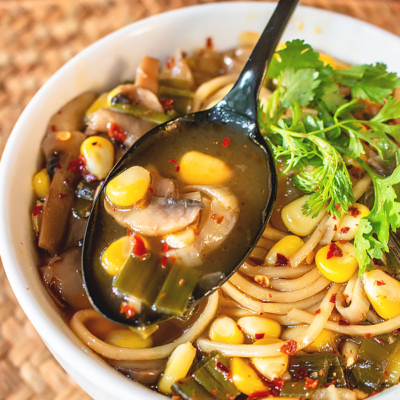Hot and Sour Soup with Noodles and Sweet Corn