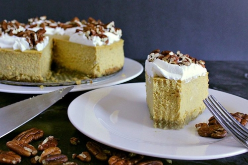 Low Carb Pumpkin Cheesecake on a plate