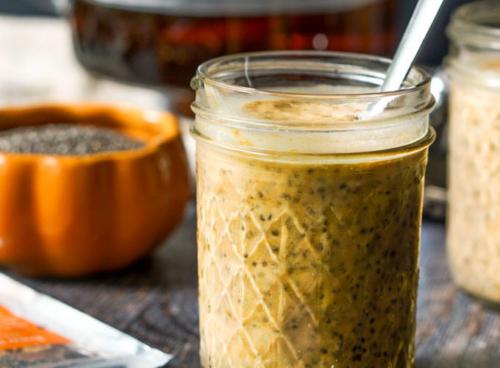 Pumpkin Chai Chia Breakfast Pudding in a mason jar