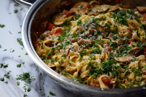 Roasted Vegetable Pasta in a skillet