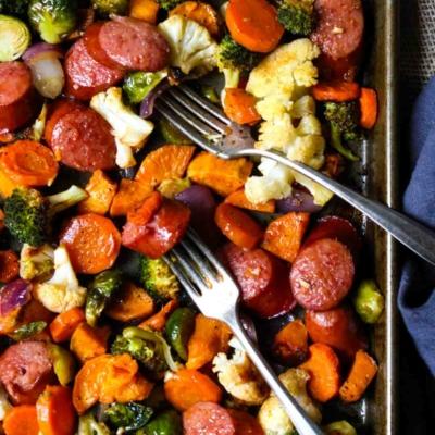 Healthy Sheet Pan Sausage & Veggies with Smoked Paprika Vinaigrette