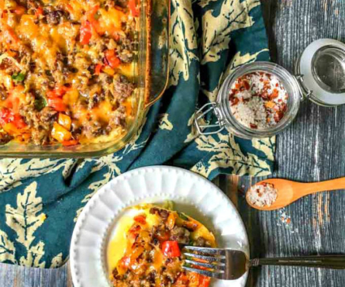 Spaghetti Squash Breakfast Casserole and a portion on a plate