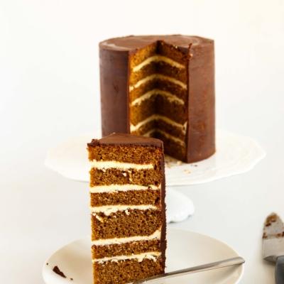 Classic Gingerbread Cake with Vanilla Buttercream and Chocolate Ganache