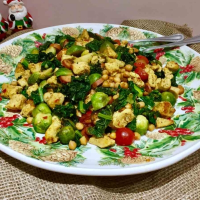 Curried Brussels Sprouts with Chicken and Cavalo Nero