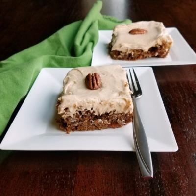 German Apple Cake with Brown Sugar Cinnamon Cream Cheese Frosting
